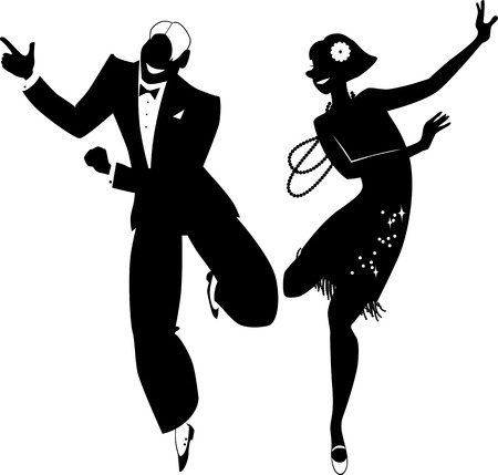 taniec: Czarny wektor sylwetka para ubrana w 1920 mody taniec Charleston ma białe przedmioty EPS 8
