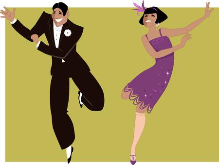 baile: Pareja joven vestida de 1920 la moda bailando el charlestón