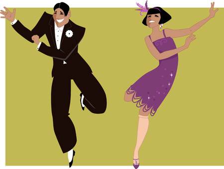 artdeco: Young couple dressed in 1920s fashion dancing the Charleston