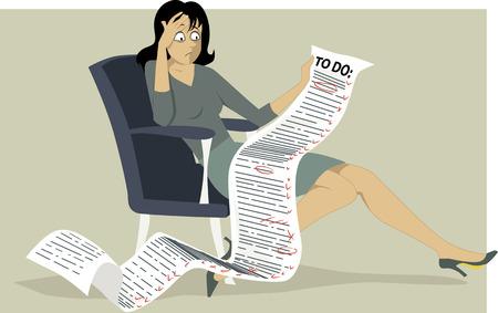 productividad: Mujer frustrada que se sienta en una silla sosteniendo un cómicamente mucho que ver ilustración vectorial lista sin transparencias EPS 8
