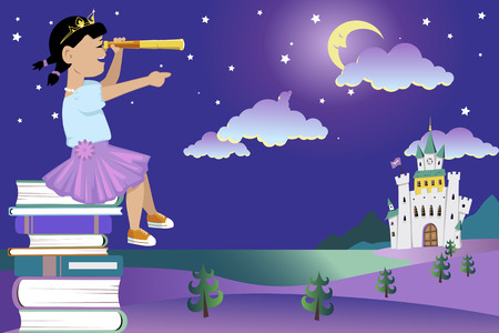 adventure story: Little girl in a princess outfit sitting on a pile of books looking in a telescope at a fairytale landscape with a castle vector illustration no transparencies EPS 8