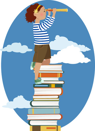 literate: Little girl in a sailors shirt standing on a pile of books looking in a telescope vector illustration no transparencies EPS 8 Illustration