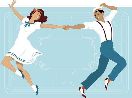 columpios: Pareja joven vestida de 1940 de la moda de estilo bailando música de estilo teatral de Broadway marco horizontal con copia espacio en el fondo Ilustración vectorial no transparencias EPS 8