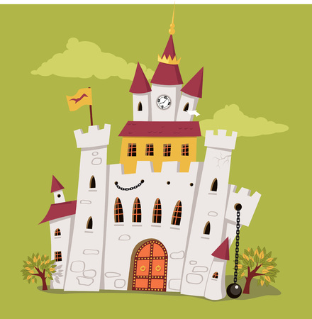 king palace: Cute cartoon castle with a clock tower vector illustration no transparencies EPS 8