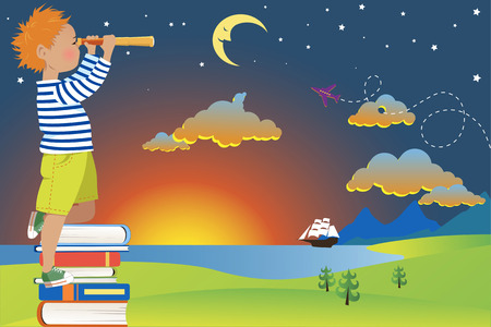Little redhead boy in a sailors shirt standing on a pile of books looking in a telescope at a fairytale landscape vector illustration no transparencies EPS 8