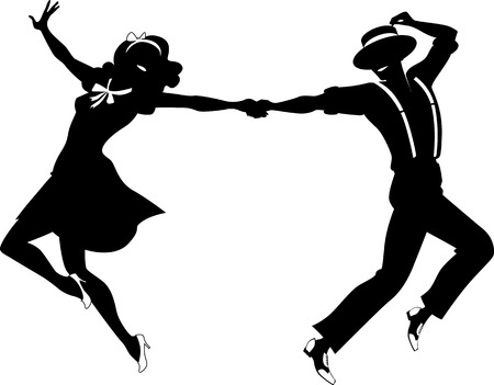 theater man: Black vector silhouette of a couple dancing swing or tap dance no white objects EPS 8 Illustration