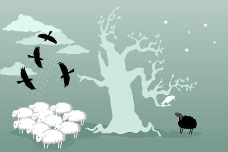 oveja negra: Amistad. Reba�o de vacas se cierne sobre un reba�o de ovejas en el otro lado del �rbol una oveja negro hablando con un cuervo blanco Ilustraci�n vectorial no transparencias EPS 8
