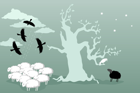 Friendship. Flock of cows hovering over a herd of sheep on the other side of the tree a black sheep talking to a white crow vector illustration no transparencies EPS 8