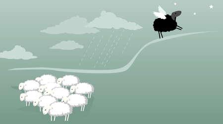 zwart schaap: Kudde schapen staan in de regen een zwart schaap met vleugels op een hiel wordt opstijgen naar de sterren vectorillustratie geen transparanten EPS 8 Stock Illustratie