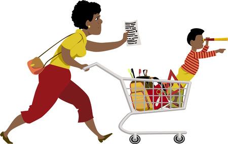 niños de compras: Madre tensionada con una lista de tiendas para la escuela suministra una niña pequeña sentada en su carrito de compras ilustración vectorial no transparencias EPS 8 aislado en blanco