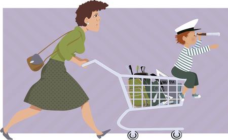 ni�os de compras: Madre tensionada con una lista de tiendas para la escuela suministra un ni�o peque�o sentado en su carrito de compras ilustraci�n vectorial sin transparencias EPS 8 Vectores