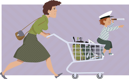 supplies: Stressed mother with a list shops for school supplies a little kid sitting on her shopping cart vector illustration no transparencies EPS 8