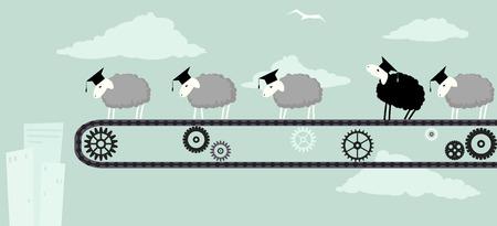 cinta transportadora: Ovejas en las tapas de graduación académica de pie sobre una cinta transportadora en movimiento obedientemente hacia el abismo una oveja negro mirando hacia el cielo ilustración vectorial EPS 8