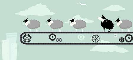 Sheep in academic graduation caps standing on a conveyor belt obediently moving toward the abyss one black sheep looking up to the sky vector illustration EPS 8 Illustration