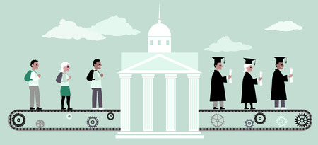 Young people riding a conveyor belt to the university building from the other side people in graduation caps and capes coming out of it vector illustration no transparencies EPS 8 Illustration