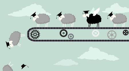 zwart schaap: Schapen in academische graduatiekappen rijden op een transportband en gehoorzaam vallen in de afgrond één zwart schaap met vleugels klaar om te vliegen vector illustratie EPS 8