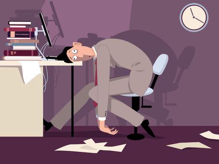 gestion del tiempo: Hombre agotado sentado en la oficina por la noche poniendo su cabeza en la ilustraci�n vectorial escritorio ESP 8 sin transparencias