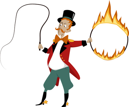 Cartoon lion tamer with a flaming hoop and whip no transparencies EPS 8