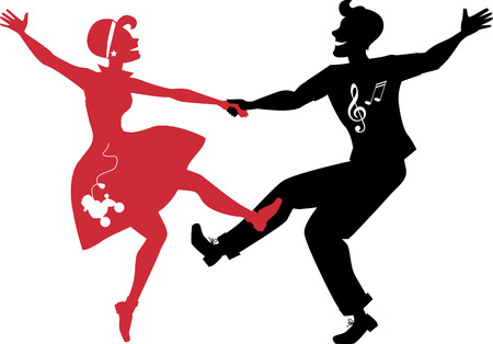 dancing silhouettes: Red and black silhouettes of a couple dressed in 1950s fashion dancing rock and roll no white objects EPS 8 Illustration