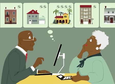 Pareja de ancianos negro sentado con una computadora y calculadora considerar diferentes opciones de vivienda Ilustración vectorial sin transparencias EPS 8