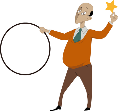 Bald man standing with a hoop in one hand and a gold star in another as a metaphor for teaching technique EPS 8 Illustration