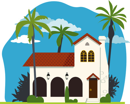 Spanish colonial or mission revival house vector illustration no transparencies EPS 8 Illustration