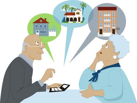 Ouderen paar zitten met een rekenmachine overweegt andere huisvesting opties Vectorillustratie geen transparanten EPS 8 geïsoleerd op wit