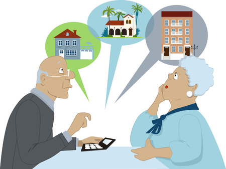 Pareja de ancianos sentados con una calculadora de considerar diferentes opciones de vivienda ilustración vectorial no transparencias EPS 8 aislado en blanco Ilustración de vector