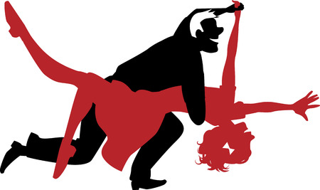 esp: Vector silhouette of a couple dancing swing or rock and roll in red and black no white objects ESP 8