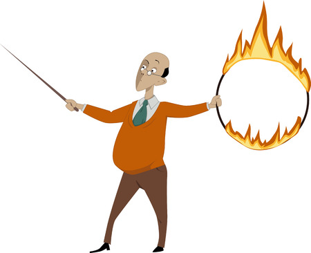 Teacher with a pointer and a flaming hoop vector illustration EPS 8