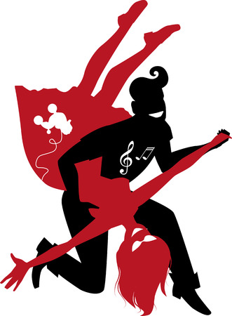 Red and black silhouette of a couple dancing 1950s style rock and roll no white objects vector illustration Illustration
