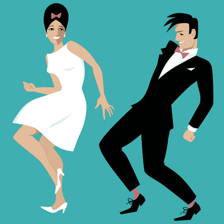 Young couple dressed in early 1960s fashion dancing rock and roll