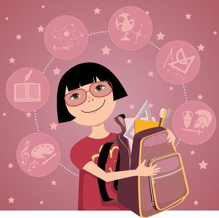 niño escuela: Asia niña de dibujos animados con una mochila llena de útiles escolares asignaturas escolares en la ilustración de fondo vectoriales EPS 8 Vectores