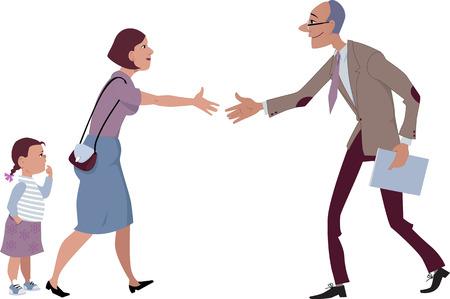 profesores: Mujer con una niña se encuentra con un profesor de la historieta del vector sin transparencias EPS 8