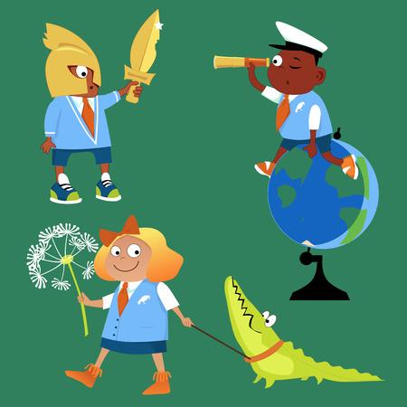 Schoolkinderen op de geschiedenis biologie geografie