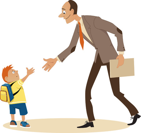 Kleine jongen naar school gaan en een ontmoeting met een nieuwe leraar EPS 8 Stock Illustratie