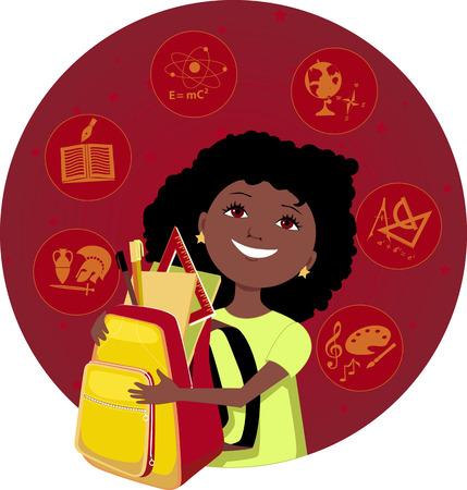 Cartoon chica latina con una mochila llena de útiles escolares asignaturas escolares en la ilustración de fondo vectoriales EPS 8 Foto de archivo - 41196505