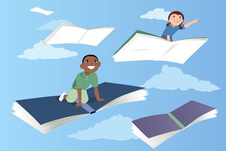 Kleine kinderen vliegen op boeken in de hemel vectorillustratie EPS 8