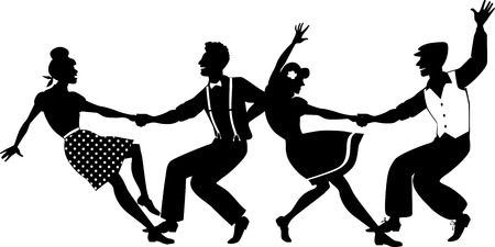 swings: Vector silhouette of two young couple dressed in 1940s fashion dancing lindy hop or swing in a formation no white objects  EPS 8 Illustration