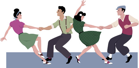 Two young couple dressed in 1940s fashion dancing lindy hop or swing in a formation vector illustration isolated on white no transparencies EPS 8 일러스트