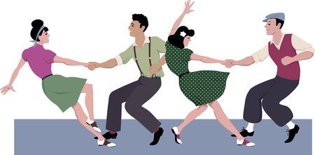 taniec: Dwa młoda para ubrana w 1940 moda taniec hip Lindy lub huśtawka w tworzenie ilustracji wektorowych na białym bez folii EPS 8