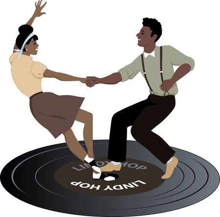 Young black couple dressed in late 1940s early 1950s fashion dancing lindy hop on a vinyl record vintage color palette no transparencies EPS 8
