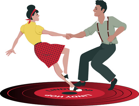 swings: Young Caucasian couple dressed in late 1940s early 1950s fashion dancing lindy hop on a vinyl record no transparencies EPS 8