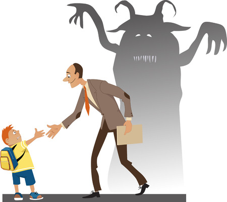 intimidated: Frighten little kid with a backpack shaking hand with a friendly teacher whos shadow loos like a horrible monster vector illustration no transparencies   Illustration