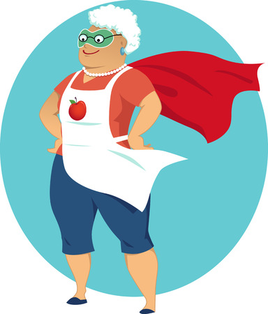 retirement age: Cartoon old lady in an apron mask and a superhero cape no transparencies EPS 8