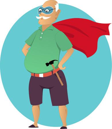 Viejo hombre de dibujos animados con una máscara y una capa de superhéroe con un martillo sin transparencias EPS 8