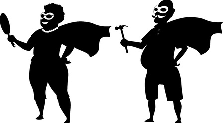 Vector silhouette of a senior couple in superhero capes no white objects EPS 8 Illustration