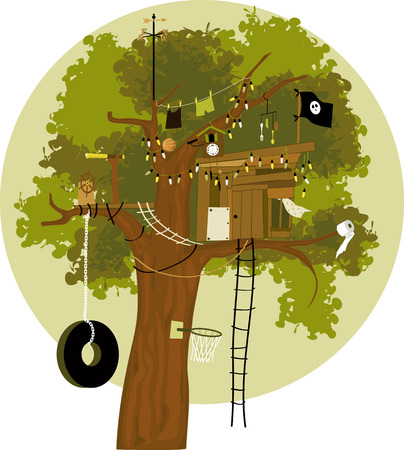 Cartoon tree house with a pirate flag tire swing basketball ring telescope cuckoo clock clothes line and weather vane no transparencies EPS 8 Vectores