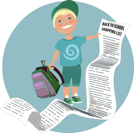 kid shopping: Cute cartoon kid holding a very long back to school shopping list vector illustration no transparencies EPS 8 Illustration