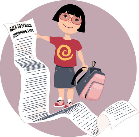 asian student: Cute cartoon girl holding a very long back to school shopping list vector illustration no transparencies EPS 8